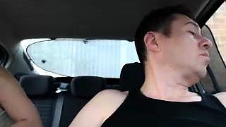 Naughty mature blonde massages her fiery snatch in the car