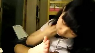Well-Trained Korean Cutie Sucks and Licks Between Her Adorable Little Toes