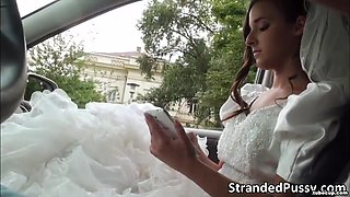 Glamorous bride Amirah sucks a big hard dick and gets pussy fucked