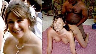 wedding dress before during after wife husband cuckold milf