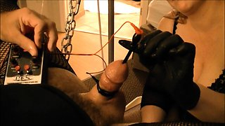 Kinky guy has a busty blonde dominatrix punishing his cock