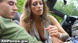 Just having fun with cute young hitchhiker outdoors