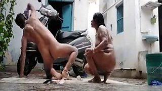 Desi couple nude rain bath in open roof