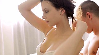 Tempting attractive girlfriend blowing large phallus
