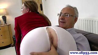 Fine British babe in riding pants gets her holes stuffed