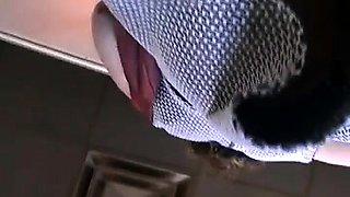 Amateur voyeur shoots a slender babe in tight panties
