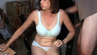 Sexy lady gives a blowjob and gets her hairy cunt fingered