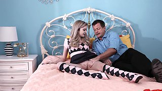 Pierced nipples Lexi Lore enjoys riding a large cock on the bed