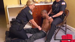 Amazing threesome with two white fat ass cops that are wet as fuck and ready to fuck a black dude