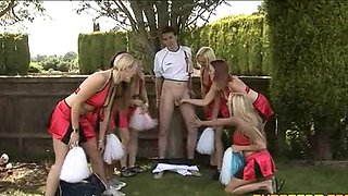 The Whole Cheerleader Team Jacking a Single Cock