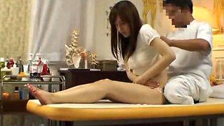 Asian chick falls into sex through massage.