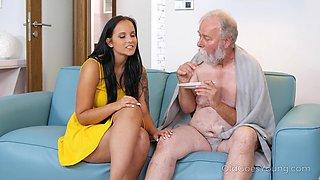 Eager teen fucks an old man and that girl has got long ass legs