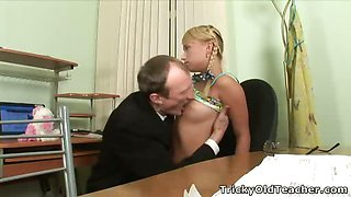 Young blonde rides old teacher\'s hard cock