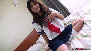 Pretty Yukari teenage school girl stripping off and masturbating