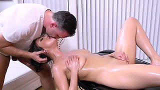 Latina babe gets her oiled up pussy obliterated