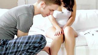Romantic couple sweet lovemaking