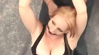 Chained blonde slave in sexy corset Tori gets gagged up