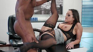 Top Abigail Mac fucked by black dick in office scenes