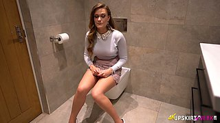 Lovely babe with quite juicy big boobies loves petting herself in the WC
