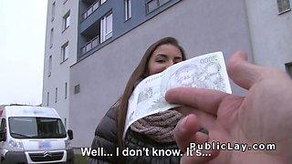 Sexy blonde Euro amateur fucks outdoor