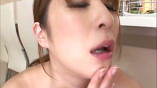Big titty  Araki Hitomi has a blast in her bosses kitchen