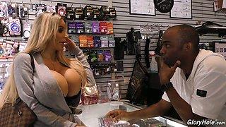 Giant breasted MILF Danielle Derek has fun while sucking glory hole BBC