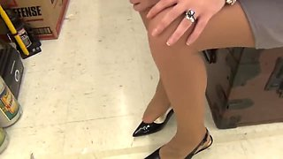 Massaging Sore Feet in Pantyhose