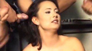 Brunette gangbanged by horny group